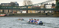 Putney, London.  Pre Varsity Boat race fixture. Approaching Hammersmith Bridge, Cambridge maintain their lead, Cambridge UBC [Blue Boat]. vs GBR U23 crew raced over parts of the Championship Course, [Putney to Mortlake].  Race divided into two trials. 1. Start to Hammersmith Pier. 2. Chiswick Eyot to Finish. River Thames. Saturday   26/02/2011 [Mandatory Credit -Karon Phillips/Intersport Images]..Crews:.CAMBRIDGE [Blue Boat] Bow,  Mike THORP, Joel JENNINGS,  Dan RIX-STANDING,  Hardy CUBASCH,  George NASH,  Geoff ROTH , Derek RASMUSSEN, Stroke David NELSON and Cox Tom FIELDMAN..GB Under-23s Bow, Oliver STAITE, Jack CADMAN,  Alex TORBICA, Alex DAVIDSON, Matt TARRANT, Ertan HAZINE,  Mason DURANT,  Stroke Scott DURANT and Cox Max GANDER .