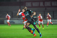 Fleetwood Town's forward Harvey Saunders (32) with Liverpool's defender Billy Koumetio (89) during the The Leasing.com Trophy match between Fleetwood Town and Liverpool U21 at Highbury Stadium, Fleetwood, England on 25 September 2019. Photo by Stephen Buckley / PRiME Media Images.