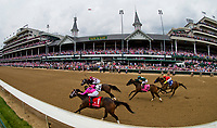 LOUISVILLE, KY - MAY 04: Salty, #1/ ridden by Tyler Gafalione, wins the La Troienne during an undercard race on Kentucky Oaks Day at Churchill Downs on May 4, 2018 in Louisville, Kentucky. (Photo by Scott Serio/Eclipse Sportswire/Getty Images)
