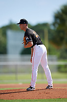 GCL Marlins starting pitcher Josh Roberson (21) looks in for the sign during a game against the GCL Cardinals on August 4, 2018 at Roger Dean Chevrolet Stadium in Jupiter, Florida.  GCL Marlins defeated GCL Cardinals 6-3.  (Mike Janes/Four Seam Images)