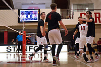 STANFORD, CA - January 2, 2018: Eric Beatty, JP Reilly, Evan Enriques, Jacob Thoenen at Burnham Pavilion. The Stanford Cardinal defeated the Calgary Dinos 3-1.