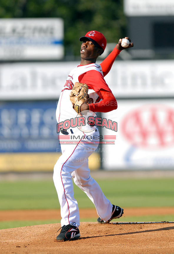 RHP Pedro Perez of the Lowell Spinners, the short season A (NY-P) affiliate of the Boston Red Sox ,at LeLacheur Park in Lowell, MA 8-30-09 (Photo by Ken Babbitt/Four Seam Images)