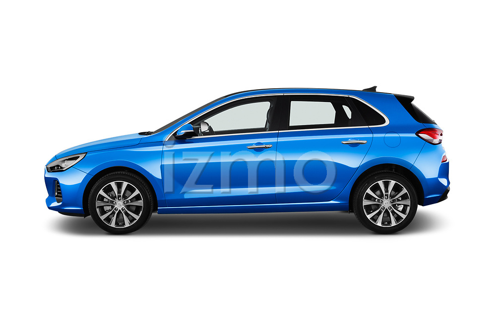 Car Driver side profile view of a 2017 Hyundai i30 Luxury-Launch-Edition 5 Door Hatchback Side View