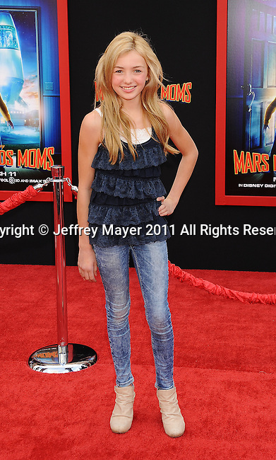 """HOLLYWOOD, CA - MARCH 06: Peyton List arrives at """"Mars Needs Moms 3D"""" Los Angeles Premiere at the El Capitan Theatre on March 6, 2011 in Hollywood, California"""