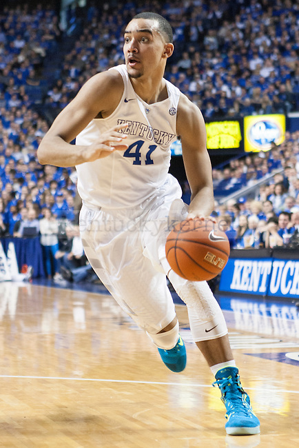 Forward Trey Lyles of the Kentucky Wildcats drives in the lane during the game against the Florida Gators at Rupp Arena on Saturday, March 7, 2015 in Lexington, Ky. Kentucky leads Florida 30-27 at the half. Photo by Michael Reaves | Staff.