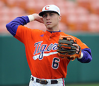 Clemson shortstop Stan Widmann warms up prior to a game between the Clemson Tigers and Mercer Bears on Feb. 24, 2008, at Doug Kingsmore Stadium in Clemson, S.C. Photo by: Tom Priddy/Four Seam Images