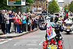 LONDON, ENGLAND, 22 May ,2014.  Memers of the public show their support as Bikers gather to mark the first anniversary of the murder of Fusilier Lee Rigby  near his Woolwich barracks.