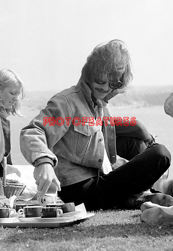 The Beatles George Harrison during the Magical Mystery Tour 1967 at Atlantic Hotel in Newquay, Cornwall..© Chris Walter..