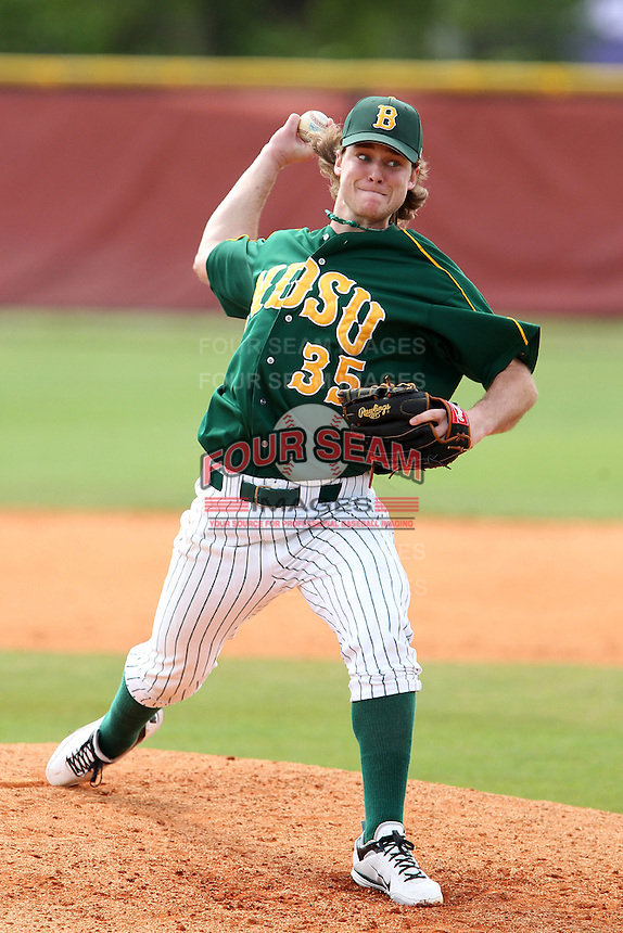 North Dakota State Bison pitcher Luke Anderson #35 during a game against the Pennsylvania Quakers at Henley Field on March 11, 2012 in Lakeland, Florida.  North Dakota State defeated Pennsylvania 15-3.  (Mike Janes/Four Seam Images)