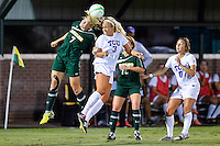 Baylor midfielder Alexa Wilde (7) and TCU midfielder Makenzie Koch (3) during fight for the ball possession during first half of an NCAA soccer game, Friday, October 03, 2014 in Waco, Tex. TCU and Baylor are tied 1-1 at the halftime. (Mo Khursheed/TFV Media via AP Images)