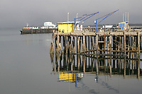 Colorful dock buildings in harbor Crescent City California