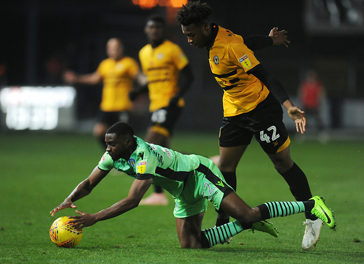 Colchester United's Kane Vincent-Young is fouled by Newport County's Antoine Semenyo<br /> <br /> Photographer Kevin Barnes/CameraSport<br /> <br /> The EFL Sky Bet League Two - Newport County v Colchester United - Saturday 17th November 2018 - Rodney Parade - Newport<br /> <br /> World Copyright © 2018 CameraSport. All rights reserved. 43 Linden Ave. Countesthorpe. Leicester. England. LE8 5PG - Tel: +44 (0) 116 277 4147 - admin@camerasport.com - www.camerasport.com