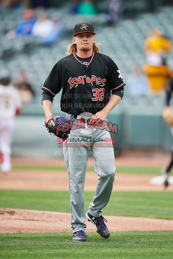 Albuquerque Isotopes starting pitcher Sam Howard (32) during the game against the Salt Lake Bees at Smith's Ballpark on April 8, 2018 in Salt Lake City, Utah. Albuquerque defeated Salt Lake 11-4. (Stephen Smith/Four Seam Images)