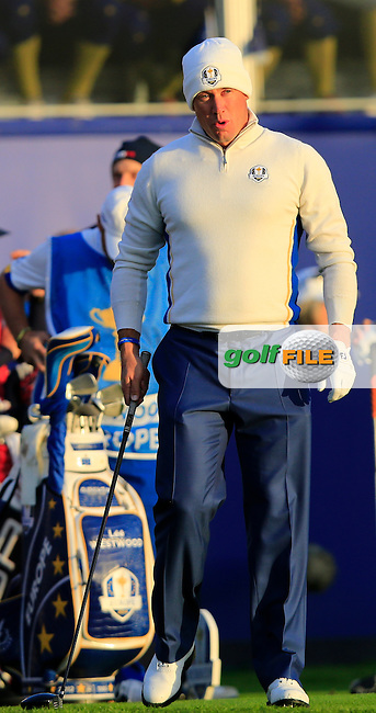 Lee Westwood (ENG) on the 1st tee during the Saturday Fourball Matches of the Ryder Cup at Gleneagles Golf Club on Saturday 27th September 2014.<br /> Picture:  Thos Caffrey / www.golffile.ie
