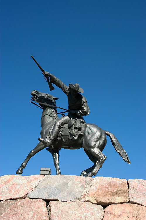 WY: Wyoming, Cody: Buffalo Bill sculpture by Gertrude Vanderbilt Whitney...Photo #: yellow540..Photo copyright Lee Foster, 510/549-2202, lee@fostertravel.com, www.fostertravel.com..