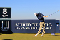 Jimmy Mullen (ENG) on the 8th tee at Kingsbarns during Round 1 of the 2015 Alfred Dunhill Links Championship at the Old Course St. Andrews in Scotland on 1/10/15.<br /> Picture: Thos Caffrey | Golffile
