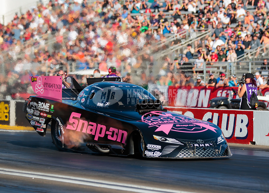 Nov 9, 2018; Pomona, CA, USA; NHRA funny car driver Cruz Pedregon during qualifying for the Auto Club Finals at Auto Club Raceway. Mandatory Credit: Mark J. Rebilas-USA TODAY Sports