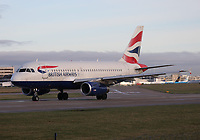 A British Airways Airbus A319-131 Registration G-EUPC at Manchester Airport on 11.2.19 going to London Heathrow Airport, United Kingdom.