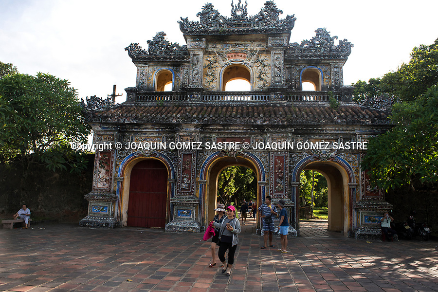 View of the famous east gate (Hien Nhon gate) of the imperial city (Hoang Thanh) in the city of Hue (Vietnam)<br /> HUE-VIETNAM