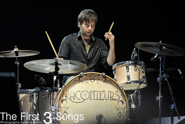 Patrick Keeler of The Raconteurs performs during Day 3 of the Voodoo Experience at City Park in New Orleans, Louisiana on October 30, 2011.