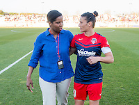 Boyds, MD - April 16, 2016: Briana Scurry and Washington Spirit defender Ali Krieger (11). The Washington Spirit defeated the Boston Breakers 1-0 during their National Women's Soccer League (NWSL) match at the Maryland SoccerPlex.