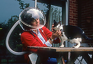 Pershore, England May, 20th, 1988. Helmet made for highly alergic people. invented by R.H. Hinchliffe.
