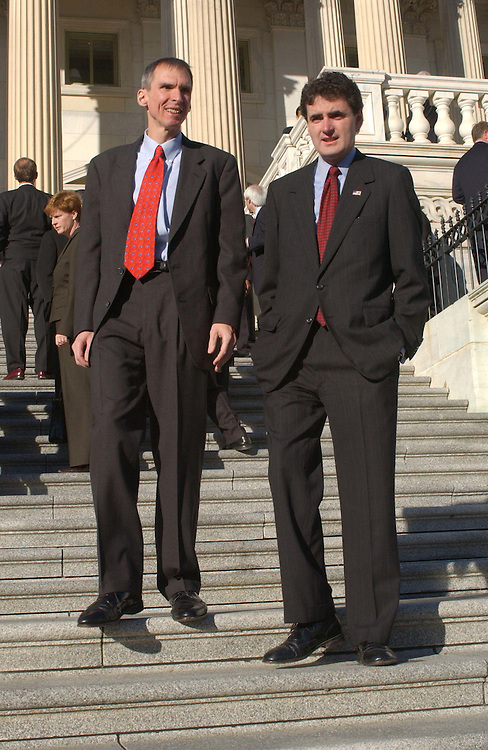 11/15/04.HOUSE FRESHMEN OF 109TH CONGRESS--Daniel Lipinski, D-Ill., and Mike Fitzpatrick, R-Pa., after fellow new members-elect of 109th Congress gathered on the East Front House steps of the U.S. Capitol for the official freshman class picture. They have been in Washington since Saturday for New Member Orientation (NMO), sponsored by the House Administration Committee.  CONGRESSIONAL QUARTERLY PHOTO BY SCOTT J. FERRELL