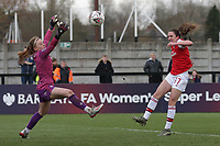 Lisa Evans of Arsenal scores the ninth goal for her team and celebrates during Arsenal Women vs Bristol City Women, Barclays FA Women's Super League Football at Meadow Park on 1st December 2019