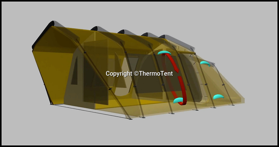 BNPS.co.uk (01202 558833)<br /> Pic: ThermoTent/BNPS<br /> <br /> The Thermo Tent diagram, showing its circulation technique.<br /> <br /> An inventor is hoping to revolutionise the camping world just in time for the notorious British summer after launching an insulated tent that keeps campers warm in cold weather and cool in the heat.<br /> <br /> Derek O'Sullivan says his Thermo Tent will finally end the age-old problem of campers being freezing cold at night then boiling hot once the sun comes up by mimicking house insulation.<br /> <br /> It means the temperature inside the tent remains stable, putting paid to common camping problems like having to take extra sleeping bags or having to wake up at the crack of dawn to let fresh air in.<br /> <br /> And Derek says that thanks to the insulation his Thermo Tents also block out noise, saving campers the misery of being kept awake by revellers or being woken early by screaming children.<br /> <br /> He has now launched the product on crowdfunding website Kickstarter where it has captured the imaginations of the online community -  almost all of the 40,000 euros he needs to get his company started has been pledged.
