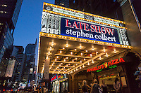 The marquee of the Ed Sullivan Theater on Broadway in New York proclaims the new Late Show with Stephen Colbert which premieres tonight, Tuesday, September 8, 2015. Colbert replaced the retiring David Letterman.  (© Richard B. Levine)