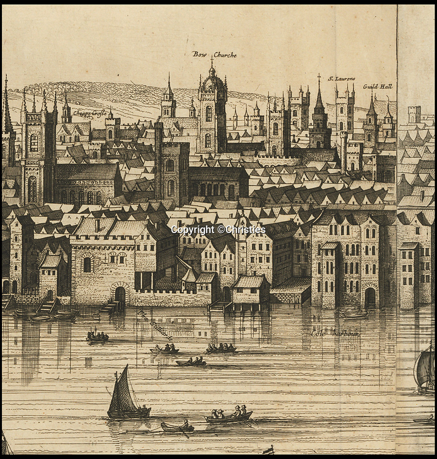BNPS.co.uk (01202 558833)<br /> Pic: Christies/BNPS<br /> <br /> The tower of 'Bowe Churche' and the 'Guild Hall' are shown in the heart of the 17th century city.<br /> <br /> A remarkable 393 year old panorama of London which reveals how the city looked before the great fire destroyed large parts of it has sold at auction for £106,000.<br /> <br /> The 7ft panorama, taken from the South Bank, has the old St Paul's Cathedral and London Bridge, which were rebuilt following the blaze, as central features.<br /> <br /> Remarkably, its creator, the Dutch engraver and cartographer Claes Jansz Visscher, never visited London, so the panorama required some imagination - the Tower of London boasts onion-styled domes.<br /> <br /> It is one of only two known copies to exist, with the other one residing in the Folger Library in Washington DC, United States.