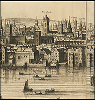BNPS.co.uk (01202 558833)<br /> Pic: Christies/BNPS<br /> <br /> The tower of 'Bowe Churche' and the 'Guild Hall' are shown in the heart of the 17th century city.<br /> <br /> A remarkable 393 year old panorama of London which reveals how the city looked before the great fire destroyed large parts of it has sold at auction for &pound;106,000.<br /> <br /> The 7ft panorama, taken from the South Bank, has the old St Paul's Cathedral and London Bridge, which were rebuilt following the blaze, as central features.<br /> <br /> Remarkably, its creator, the Dutch engraver and cartographer Claes Jansz Visscher, never visited London, so the panorama required some imagination - the Tower of London boasts onion-styled domes.<br /> <br /> It is one of only two known copies to exist, with the other one residing in the Folger Library in Washington DC, United States.