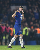 Chelsea's Olivier Giroud celebrates at the end of the game<br /> <br /> Photographer Rob Newell/CameraSport<br /> <br /> The Carabao Cup Semi-Final Second Leg - Chelsea v Tottenham Hotspur - Thursday 24th January 2019 - Stamford Bridge - London<br />  <br /> World Copyright © 2018 CameraSport. All rights reserved. 43 Linden Ave. Countesthorpe. Leicester. England. LE8 5PG - Tel: +44 (0) 116 277 4147 - admin@camerasport.com - www.camerasport.com