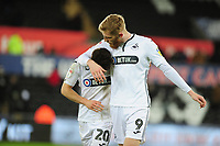 (L-R) Daniel James and Oli McBurnie of Swansea City at full time during the Sky Bet Championship match between Swansea City and Birmingham City at the Liberty Stadium in Swansea, Wales, UK. Tuesday 29 January 2019