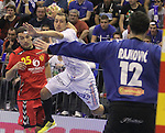 13.01.2013 Granollers, Spain. IHF men's world championship, prelimanary round. Picture show Michael Guigou   in action during game between France vs Montenegro at Palau d'esports de Granollers