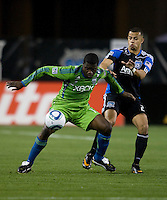 O'Brian White of Sounders controls the ball away from Jason Hernandez of Earthquakes during the game at Buck Shaw Stadium in Santa Clara, California on April 2nd, 2011.   San Jose Earthquakes and Seattle Sounders are tied 2-2.