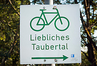 Germany, Bavaria, Middle Franconia, Tauberzell: 'Tauber Valley' Long-distance cycling route - Liebliches Taubertal | Deutschland, Bayern, Mittelfranken, Tauberzell: Taubertalradweg - Liebliches Taubertal