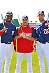 15 March 2008: Newest members of the Washington Nationals (left to right): Lastings Milledge, Paul Lo Duca, and Aaron Boone, take a moment to pose for a Spring Training photo at Space Coast Stadium, in Viera, Florida. Mandatory Photo Credit: Ed Wolfstein Photo