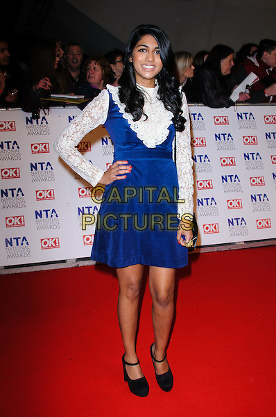 Meryl Fernande.arrivals at The National Television Awards, O2 Greenwich, London, England. 25th January 2012.NTA NTAS full length blue dress white lace sleeves shirt hand on hip black shoes .CAP/CJ.©Chris Joseph/Capital Pictures.