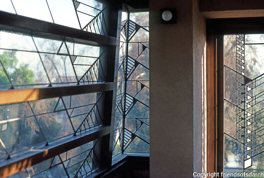 F.L. Wright: Barnsdall House windows, upper bedroom (S.E. Corner)