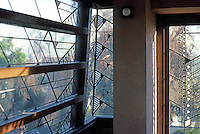 F.L. Wright: Barnsdall House windows, upper bedroom (S.E. Corner)