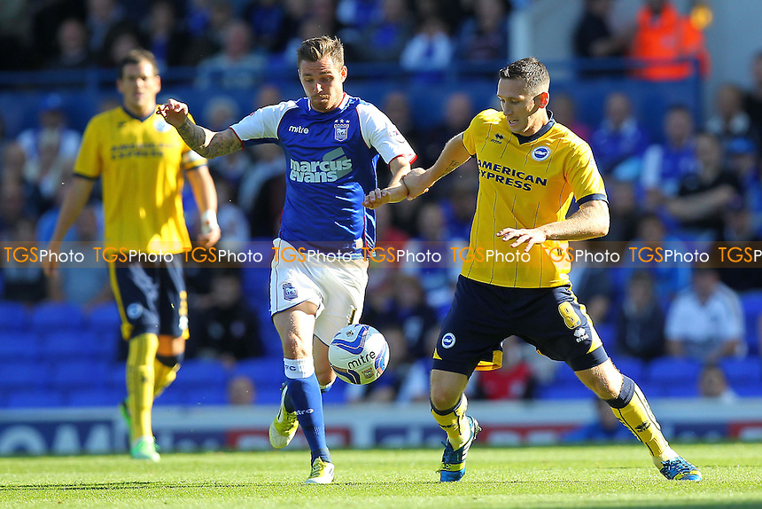 Paul Anderson of Ipswich Town tangles with Andrew Crofts of Brighton and Hove Albion - Ipswich Town vs Brighton & Hove Albion - Sky Bet Championship Football at Portman Road, Ipswich, Suffolk - 28/09/13 - MANDATORY CREDIT: Gavin Ellis/TGSPHOTO - Self billing applies where appropriate - 0845 094 6026 - contact@tgsphoto.co.uk - NO UNPAID USE