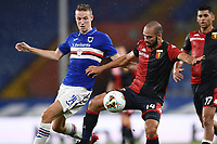 Jakub Jankto of UC Sampdoria and Davide Biraschi of Genoa during the Serie A football match between UC Sampdoria and Genoa CFC at stadio Marassi in Genova (Italy), July 22th, 2020. Play resumes behind closed doors following the outbreak of the coronavirus disease. <br /> Photo Matteo Gribaudi / Image Sport / Insidefoto