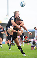 Exeter Chiefs' Henry Slade celebrates scoring his side's fifth try with Exeter Chiefs' Stu Townsend<br /> <br /> Photographer Bob Bradford/CameraSport<br /> <br /> Gallagher Premiership - Exeter Chiefs v Leicester Tigers - Saturday September 1st 2018 - Sandy Park - Exeter <br /> <br /> World Copyright © 2018 CameraSport. All rights reserved. 43 Linden Ave. Countesthorpe. Leicester. England. LE8 5PG - Tel: +44 (0) 116 277 4147 - admin@camerasport.com - www.camerasport.com