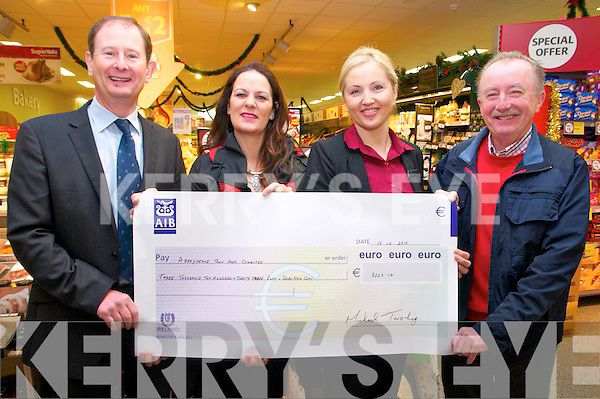 Cheque Presentation: Michael Twohig & Ramune Ziliene of Twohig's Super Value, Abbefeale presenting a cheque for €3223.17 to members of the Abbeyfeale Town Park Committee the proceeds of the Kevin Dundon Cookery night held recently. L- R: Michael Twohig, Bridget Lee, Ranune Ziliene & James Harnett.