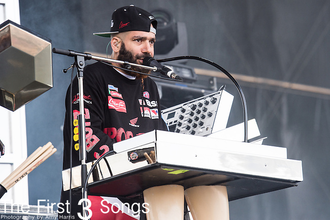 Patrick Gemayel (P-Thugg) of Chromeo performs at the Outside Lands Music & Art Festival at Golden Gate Park in San Francisco, California.