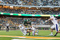 Baylor quarterback Seth Russell (17) rushes in for a touchdown during NCAA football game, Saturday, November 01, 2014 in Waco, Tex. Baylor defeated Kansas 60-14. (Mo Khursheed/TFV Media via AP Images)