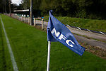 Nelson 3 Daisy Hill 6, 12/10/2019. Victoria Park, North West Counties League, First Division North. A corner flag with club name, pictured before Nelson hosted Daisy Hill at Victoria Park. Founded in 1881, the home club were members of the Football League from 1921-31 and has played at their current ground, known as Little Wembley, since 1971. The visitors won this fixture 6-3, watched by an attendance of 78. Photo by Colin McPherson.