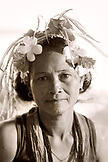 INDONESIA, Mentawai Islands, Kandui Resort, portrait of smiling Mentawai woman (B&W)