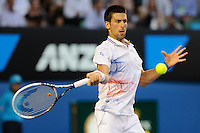 MELBOURNE, 27 JANUARY - Novak Djokovic (SRB) in action against Andy Murray (GBR) during a men's semifinals match on day twelve of the 2012 Australian Open at Melbourne Park, Australia. (Photo Sydney Low / syd-low.com)